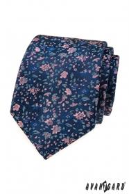 Elegantné modrá kravata s kvetinovým vzorom