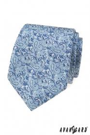 Modrá kravata s elegantným Paisley vzorom