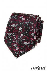 Čierna kravata s červeno-šedým vzorom
