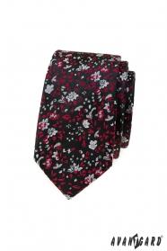 Čierna úzka kravata s červeno-šedým vzorom