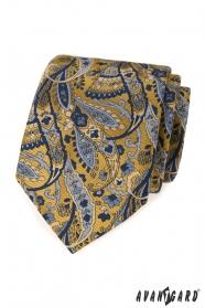 Modro-žltá kravata vzor Paisley