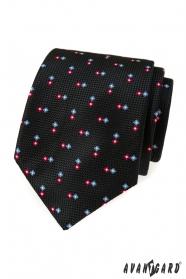 Čierna štruktúrovaná kravata so vzorom
