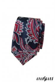 Modrá kravata slim s červeným Paisley vzorom