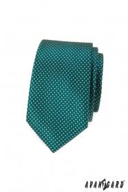 Zelená slim kravata bodkovaná