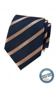 Modrá hodvábna kravata s lesklým pruhom v darčekovej krabičke