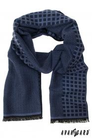 Modro vzorovaný pánsky šál
