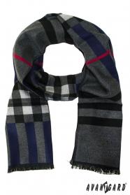 Modrý elegantný šál s farebnými pruhmi