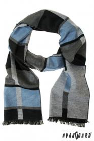 Elegantný sivý šál so svetlo modrým pruhom