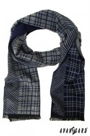 Modro-sivý pruhovaný šál