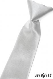 Chlapčenská kravata strieborná lesk