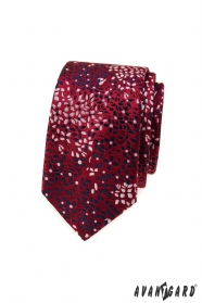 Vínová úzka kravata s kvetinovým vzorom