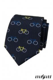 Modrá kravata vzor farebný bicykel