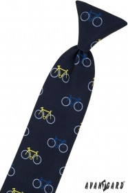 Modrá detská kravata 44 cm, farebný bicykel