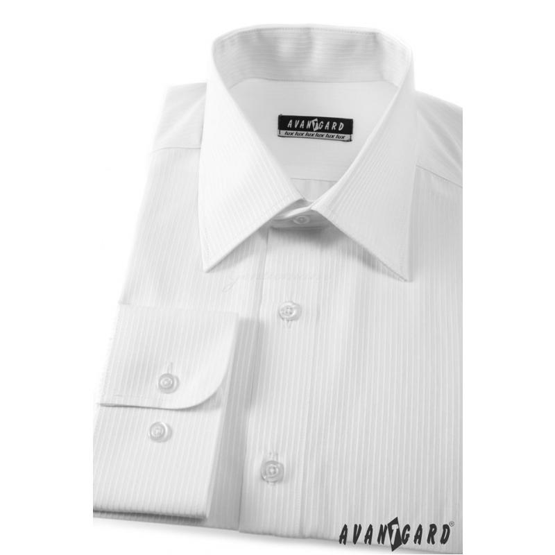 7e907165ef79 Prúžkovaná pánska košeľa biela 80% bavlna - Galamodino.sk