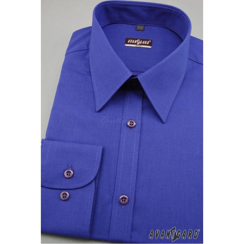 5bc13781bbe3 Pánska košeľa SLIM s dlhým rukávom - Kráľovská modrá výpredaj ...