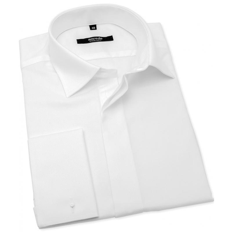 2a1436c9f289 Biela svadobná košeľa na manžetové gombíky ANREDE - Galamodino.sk