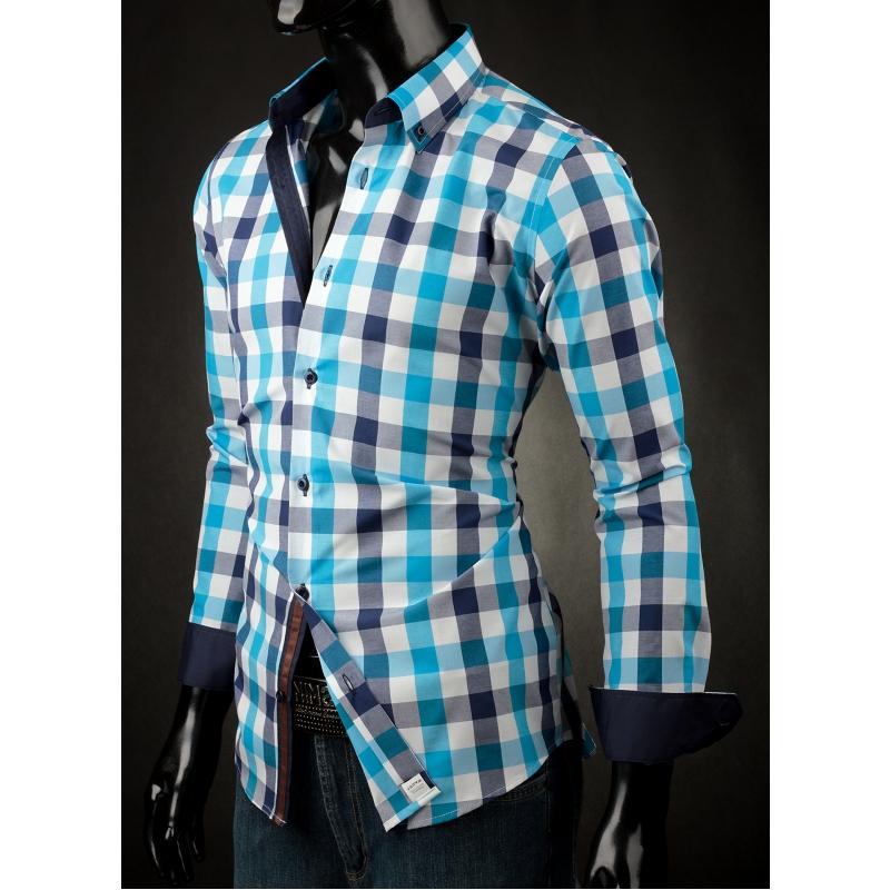 1de6bb60b7b8 Pánska košeľa Victorio - Modrá kocka - Galamodino.sk